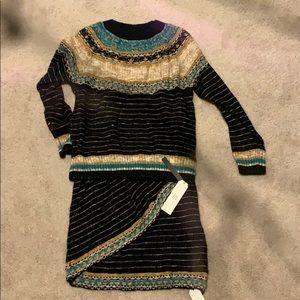 2 piece knitted skirt & sweater set